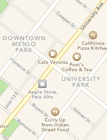 Apple Maps showing labeling downtown Palo Alto as Downtown Menlo Park.